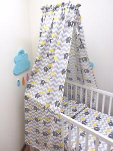 10 Pcs Baby Nursery Bedding Set 120x90/135x100 Elephants Yellow Umbrella CANOPY