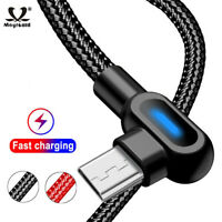 USB Type C 90 Degree Braided Fast Charging Data Cable For Samsung S10 S9 Huawei