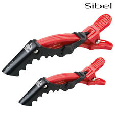 Sibel 4 x ORANGE/RED Strong Hair Dressing Sectioning Crocodile Clips 9cm & 11cm