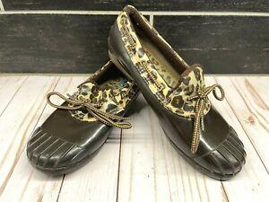 Sperry Top Sider Cheetah Print Duck Waterproof Rubber Lowtop Shoe Boot 7.5