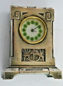 ⭐Art Nouveau Silver Plate Clock Look Of Liberty Of London Unmarked