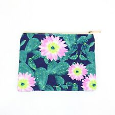 Cactus Flower Canvas Make Up Bag Zip Pouch Gift Travel