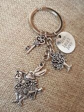 Alice in Wonderland Rabbit Key Tree keychain Keyring Charm Gift Live Laugh Love