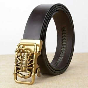 Belt Men High Quality Real Leather Strap Male Retro Scorpion Automatic Buckle