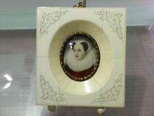 Antikes Bild in Miniatur- Lupenmalerei mit Rahmen- Portrait Mary Stuart