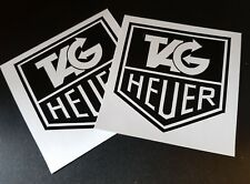 """2 x Classic Tag Heuer Stickers 3"""" Race & Rally Car Stickers."""