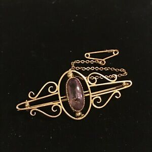 Victorian 9 Carat Gold & Facet Cut Amethyst Bar Brooch With Safety Chain
