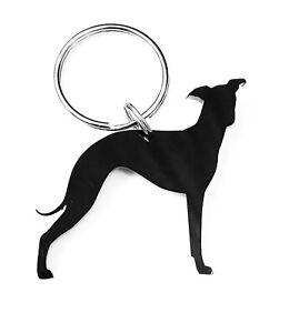 Italian Greyhound Dog Keyring Bag Charm Keychain Gift In Black With Gift Bag