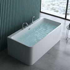 Wandstehende Badewanne 180cm x 80cm mit Armatur Acryl Wanne Standbadwanne