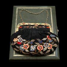 Antico Vintage Art Déco Argento Oro Cinese Seta Corallo Turchese Borsellino
