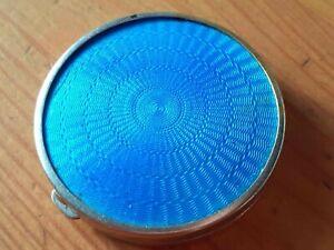 VINTAGE BLUE ENAMEL GUILLOCHE PILL BOX. SILVER GILT REVERSE. ENGINE-TURNED
