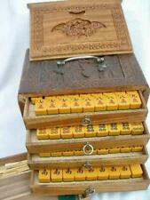 Superb Vintage Chinese Two Tone Bakelite Mahjong Set With Carved Wood Case.
