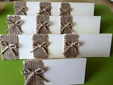 10 x Handmade Ivory Linen Hessian Place Name Cards Rustic Shabby Wedding