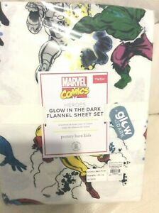 Pottery Barn Kids Flannel  Marvel Comics Hero Sheet Set Twin NWT Glow in th Dark