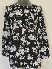 Ralph Lauren Blouse Black White Florals Ruffled Crew Neck 3/4 Sleeves Sz XL NWT