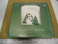 2004 Martha Stewart Winter Jubilee Snowman Pattern Dessert Plate Set of 4 - NIB
