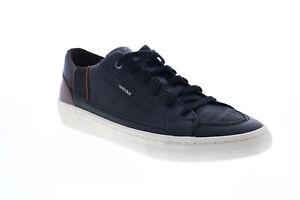 Geox U Warley U946HF00043C0630 Mens Black Leather Lace Up Euro Sneakers Shoes 7