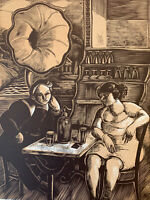 Fernand Simeon gravure Sur Bois Woodcut Le Bar Marin Phonographe Siphon Bistrot