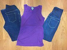 Old Navy Lot 3 Maternity Women's 6/M Skinny Bootcut Jeans Motherhood Purple Top