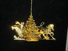 1999 Dandury Mint gold Christmas ornament gold plate one horse open sleigh