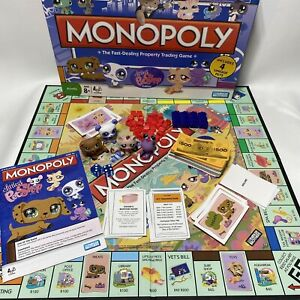 LITTLEST PET SHOP Monopoly Board Game 2008 With All 4 Pets
