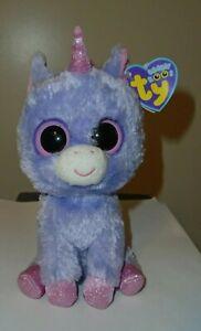 NM* Ty Beanie Boos - RAINBOW the Purple Unicorn (6 Inch) NM