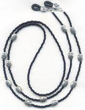 Silver LADYBUGS on Black Eyeglass-Glasses Holder Necklace Leash Chain