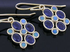 E070- Genuine 9ct Yellow Gold Natural Sapphire & Opal Blossom Drop Earrings