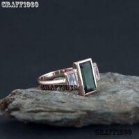 2Carat Baguette Emerald & Diamond Art Deco Vintage Ring 14k Rose Gold Finish
