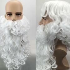 Halloween Xmas Santa Claus White Curly Wavy Cosplay Wig With Beard Mustache Hot