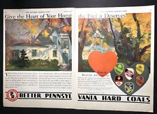 Pennsylvania Coal Mine Mining Original Ad 1930 Two Pages Great Graphics Brands