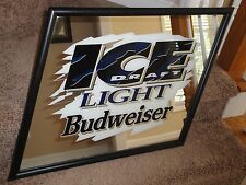 VINTAGE 1994 BUDWEISER ICE LIGHT DRAFT BEER MIRROR Picture Sign