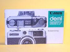 Original(!) Canon Demi EE17 Instruction Manual - in Swedish!