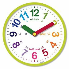 Reloj de Pared Infantil Aprender Hora en Ingles The Time English Esfera Cristal