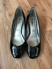 M&S Footglove Women Black Shoes/wedges Size Uk 6 Wider Fit