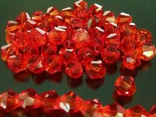 50 pce Christmas Red Faceted Bicone Crystal Glass Beads 6mm A Grade