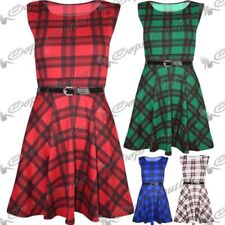 Checked Sleeveless Dresses for Women with Belt