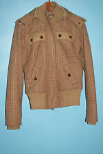 Triple 5 Soul Womens Quality winter Wool Plaid Bomber hooded Jackets size XS