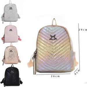 New Womens Stylish Star Print Rucksack Girls Shiny School Bag Boys Backpack