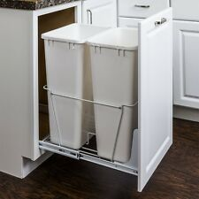50 Quart White Double Trash Can Pull-Out System- with Cans & Doorkit