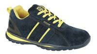 Unisex Grafters Lace Up Safety Toe Cap Trainer Shoes Navy Blue/Yellow Real Suede