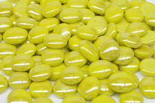 GLASS PEBBLES - YELLOW 500g FOR MOSAIC ART OR CRAFT, VASES, AQUARIUMS