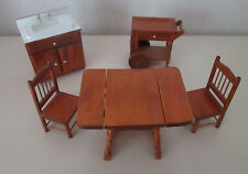 Wooden Kitchen Furniture Set - Table, Chairs, Sink, & Wheeled Cart  1:12 scale