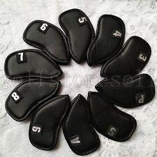 New 10pcs A set Golf Club Iron Head covers HeadCover Black 3-S#