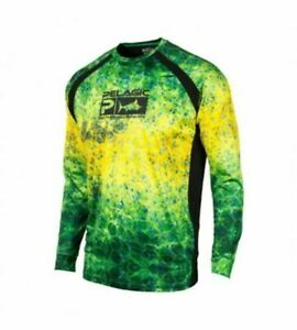 PELAGIC Vaportek L/S PERFORMANCE FISHING SHIRT Dorado Hex Green $55 NWT