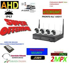 KIT WIRELESS VIDEOSORVEGLIANZA AHD 2MP DVR FULL HD 4 TELECAMERE+HARD DISK 320GB