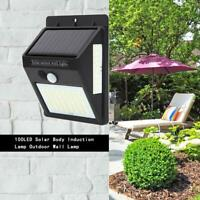 100 LED Solar Motion Sensor Wall Way Light Waterproof Garden Yard Security Lamp