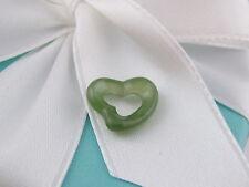NEW AUTH TIFFANY & CO ELSA PERETTI GREEN JADE OPEN HEART PENDANT CHARM POUCH