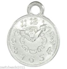 10 x Silver Plated Clock Charms, Watch Pendants, Alice in Wonderland,