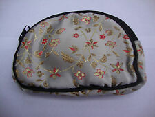 Gray Womens Wallet Change Purse Chinese Satin Floral Black Trim Brocade Coin Bag